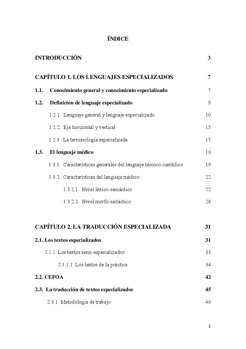 Indice della tesi: Glosario de ortopedia español-italiano. Un estudio de caso sobre la traducción especializada, Pagina 1
