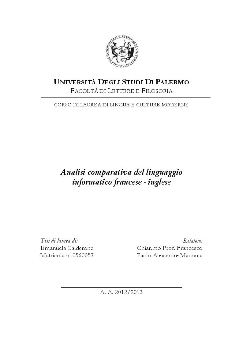 Anteprima della tesi: Analisi comparativa del linguaggio informatico francese - inglese, Pagina 1
