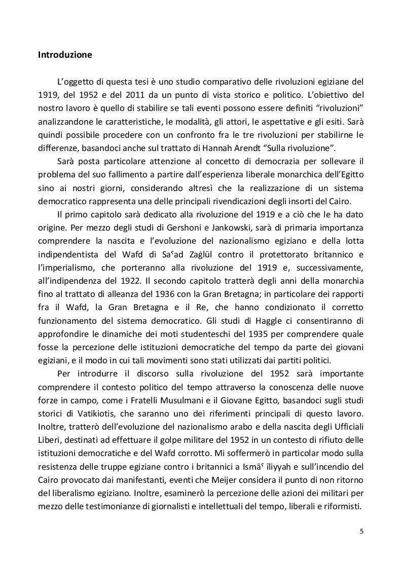 Studio Comparativo sulle rivoluzioni egiziane (1919 -2011) - Tesi di Laurea
