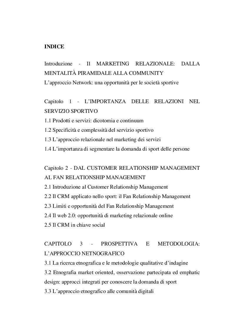 Indice della tesi: La Gestione delle Relazioni con i Tifosi: Analisi Netnografica di una Fan Community Online nel Basket, Pagina 1
