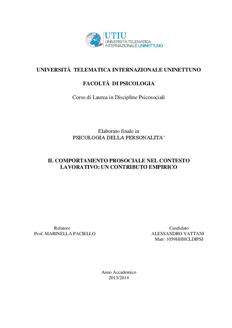 Anteprima della tesi: Il comportamento prosociale nel contesto lavorativo: un contributo empirico, Pagina 1