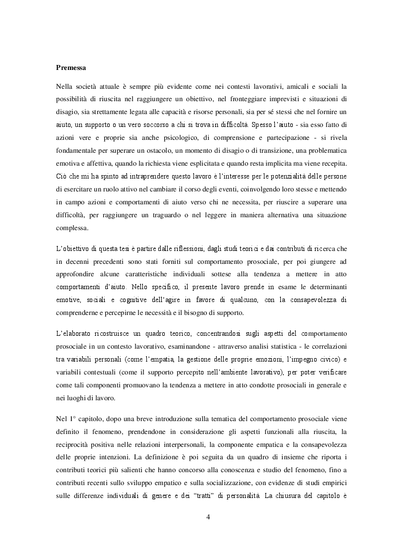 Il comportamento prosociale nel contesto lavorativo: un contributo empirico - Tesi di Laurea