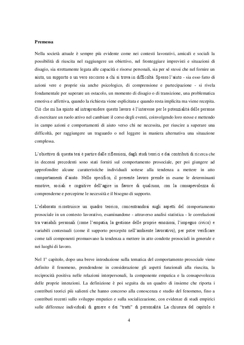 Anteprima della tesi: Il comportamento prosociale nel contesto lavorativo: un contributo empirico, Pagina 2