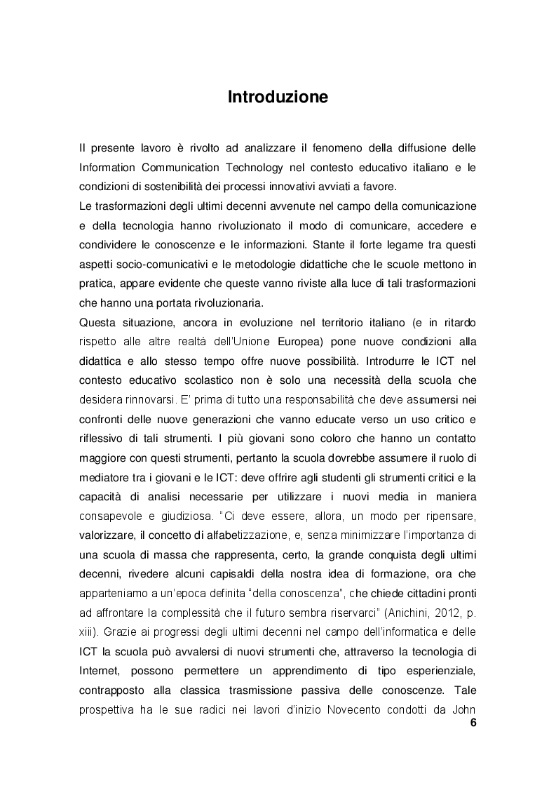 Le ICT nel contesto educativo italiano. Analisi di fattibilità dei processi di innovazione didattica. - Tesi di Laurea