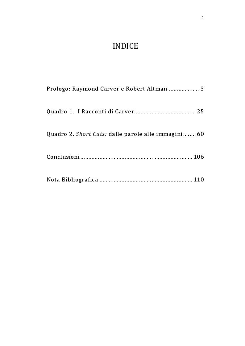 Indice della tesi: Short Cuts: Raymond Carver e Robert Altman raccontano l'America, Pagina 1