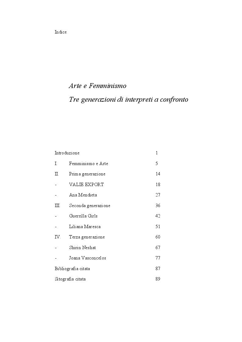 Indice della tesi: Arte e Femminismo. Tre generazioni di interpreti a confronto, Pagina 1