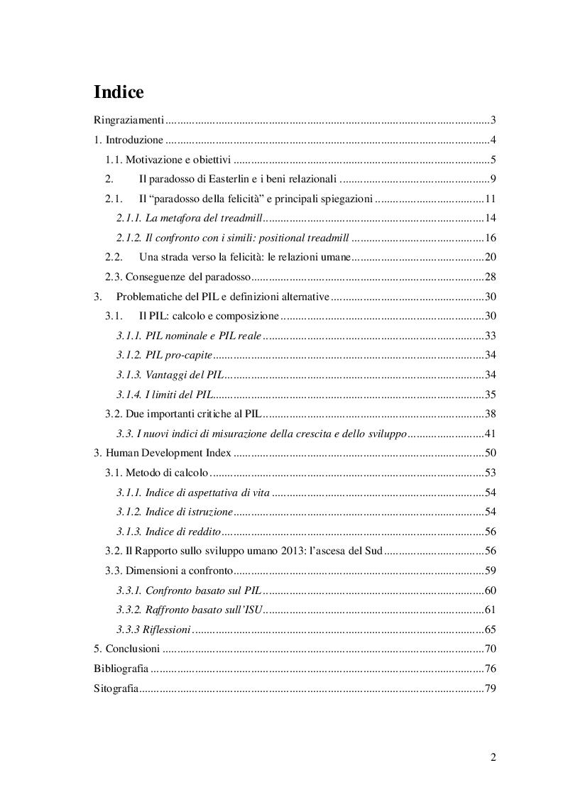 Indice della tesi: L'economia della felicità: quale equilibrio tra benessere materiale e benessere umano?, Pagina 1
