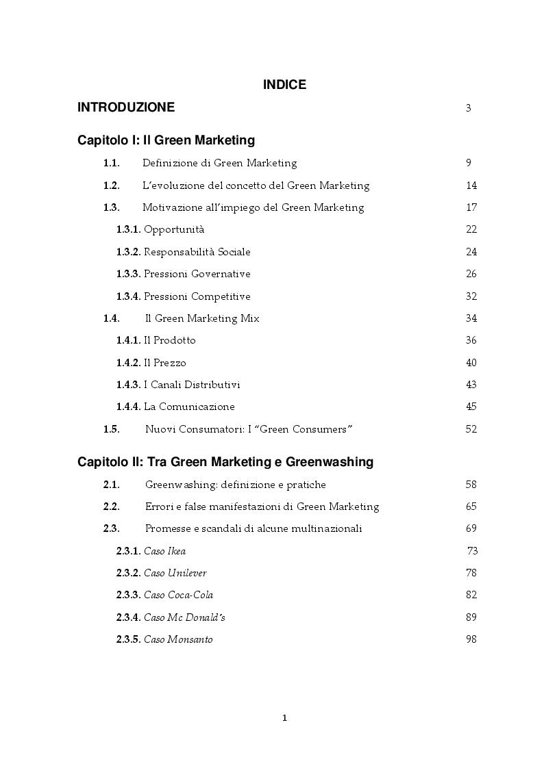 Indice della tesi: Il Green Marketing: Comunicare il Verde, Pagina 1