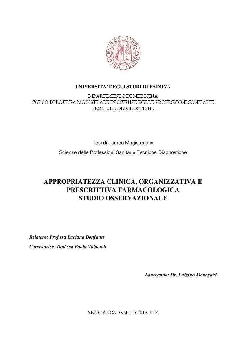 Anteprima della tesi: Appropriatezza clinica, organizzativa e prescrittiva farmacologica - Studio osservazionale, Pagina 1