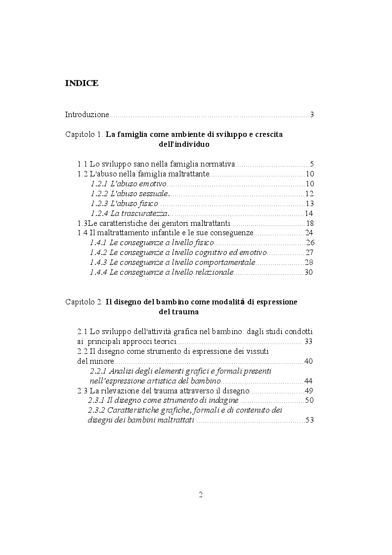 Indice della tesi:  La rappresentazione della famiglia nei bambini maltrattati , Pagina 1