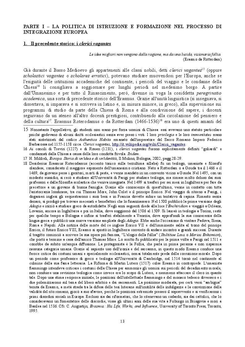 Estratto dalla tesi: Nel nome di Erasmo. Evoluzione storica ed evidenze empiriche di una politica europea