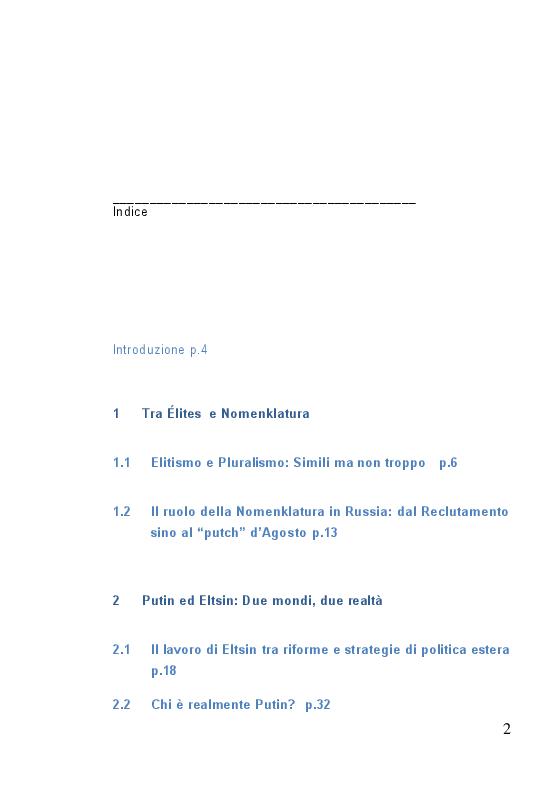 Indice della tesi: Le élite in Russia: dalla Nomenclatura a Putin, Pagina 1