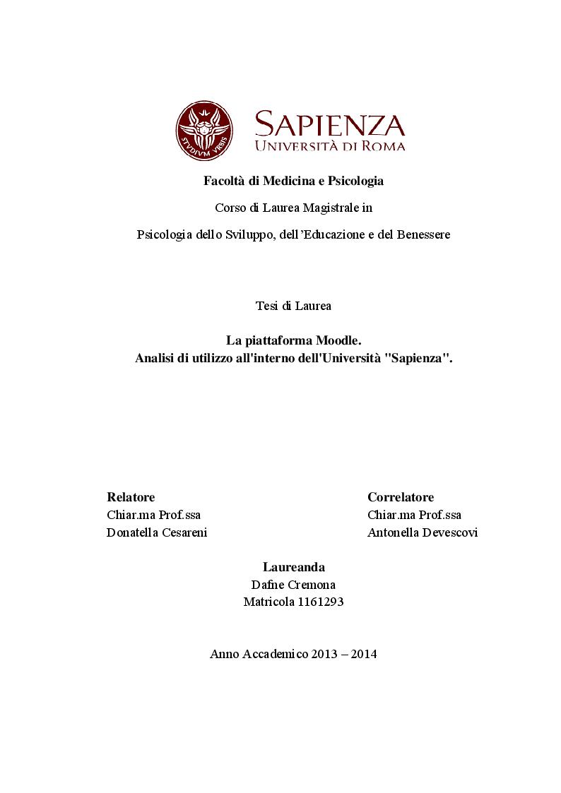 """Anteprima della tesi: La piattaforma Moodle. Analisi di utilizzo all'interno dell'Università """"Sapienza"""", Pagina 1"""