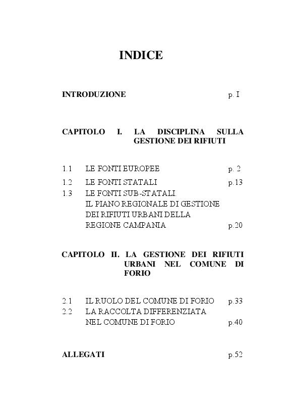 Indice della tesi: La gestione dei rifiuti urbani nel Comune di Forio d'Ischia, Pagina 1