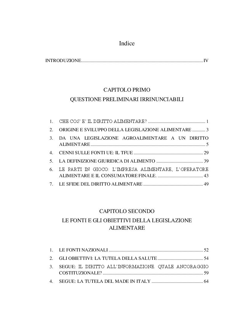 Indice della tesi: Origine e provenienza dei prodotti alimentari: un problema irrisolto nel diritto dell'Unione Europea, Pagina 1