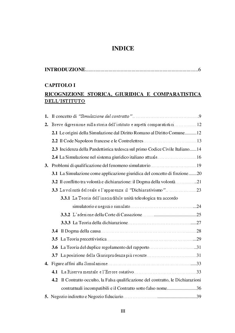 Indice della tesi: La simulazione del contratto, Pagina 1
