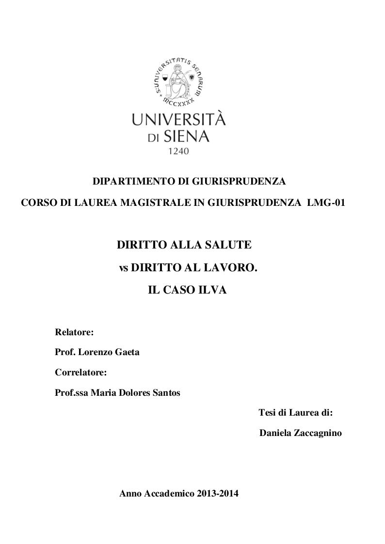 Anteprima della tesi: Diritto alla salute vs diritto al lavoro. Il caso Ilva, Pagina 1
