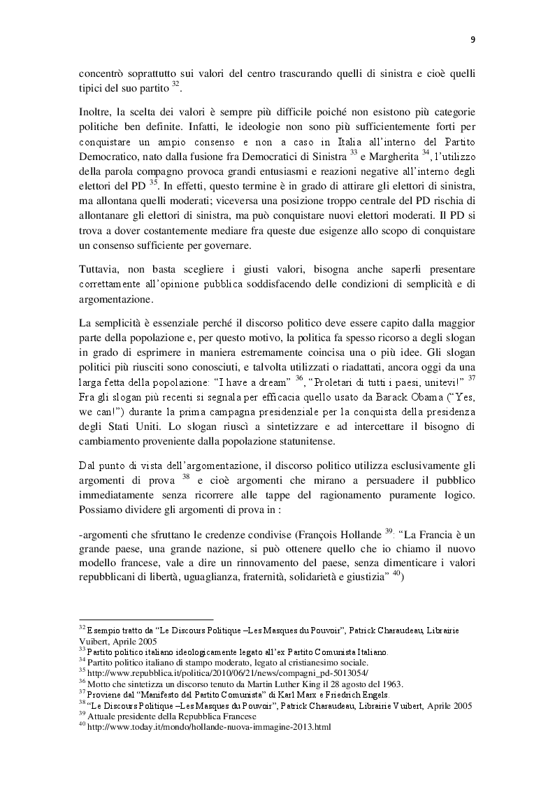 Estratto dalla tesi: Ethos e Discorso Politico: il caso di Silvio Berlusconi e di Nicolas Sarkozy