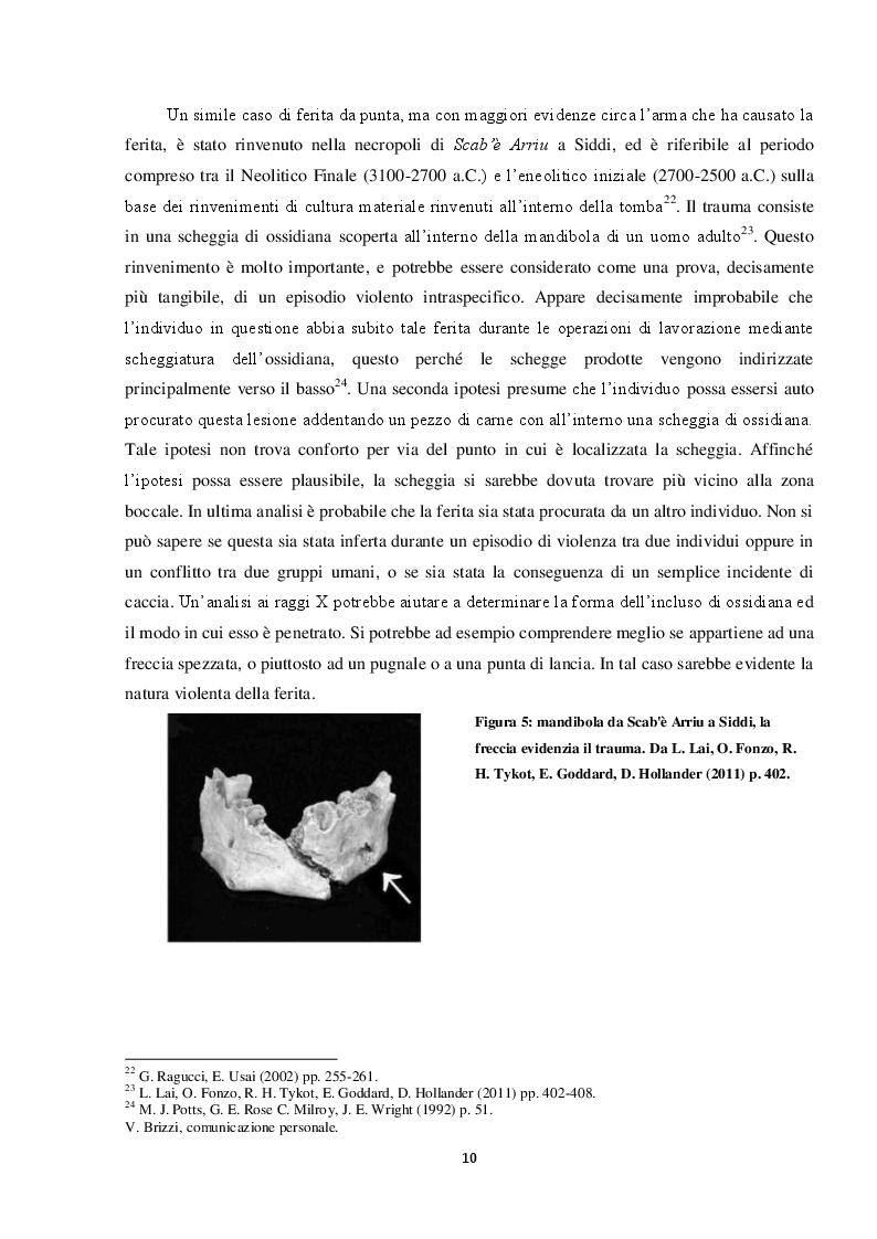 Estratto dalla tesi: Dal Combattimento alla Lesione: Ricerca di Indicatori in Reperti Scheletrici Umani di Età Nuragica