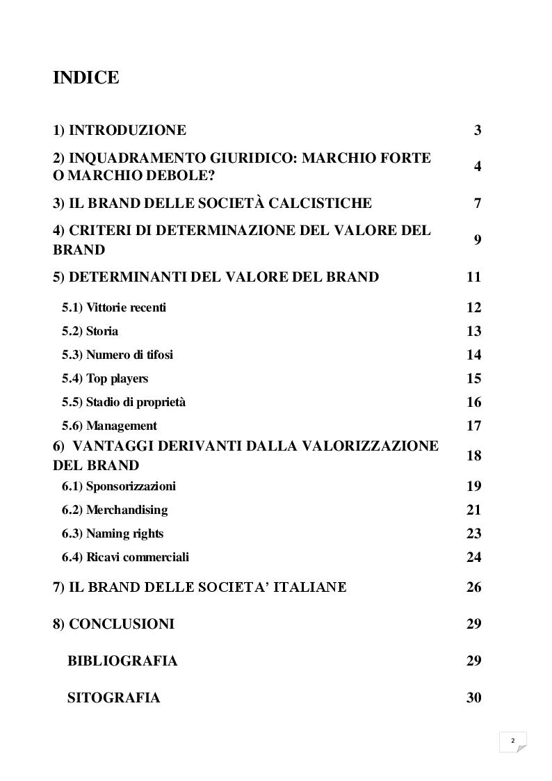 Indice della tesi: L'importanza del brand nelle società calcistiche: analisi delle sue determinanti e delle modalità di valorizzazione, Pagina 1