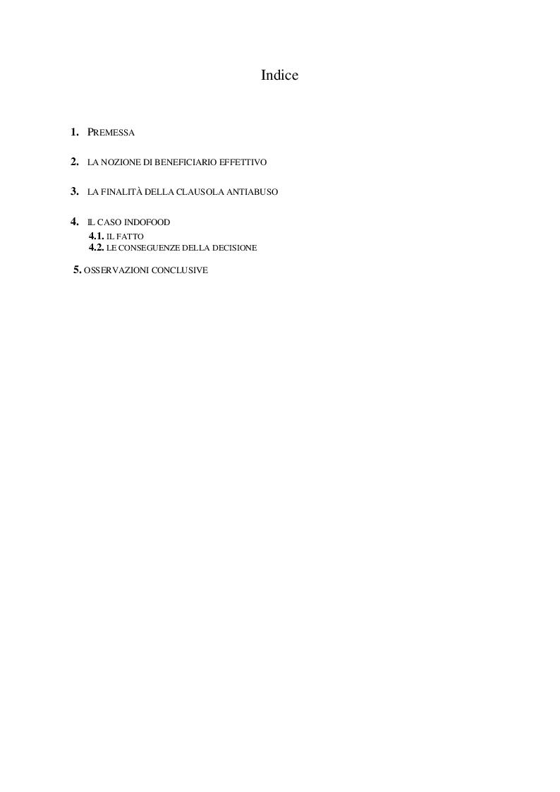 Indice della tesi: Considerazioni in tema di beneficiario effettivo: il caso Indofood, Pagina 1
