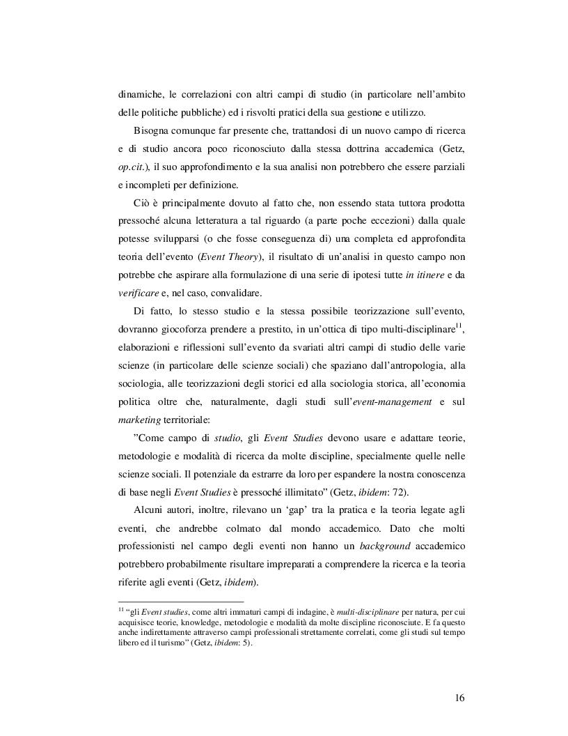 Estratto dalla tesi: Event Studies: l'analisi dell'evento come risorsa strategica delle politiche urbane e territoriali