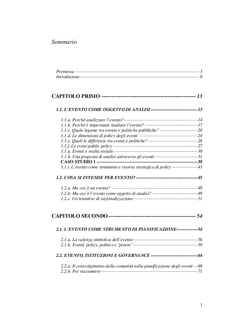 Indice della tesi: Event Studies: l'analisi dell'evento come risorsa strategica delle politiche urbane e territoriali, Pagina 1