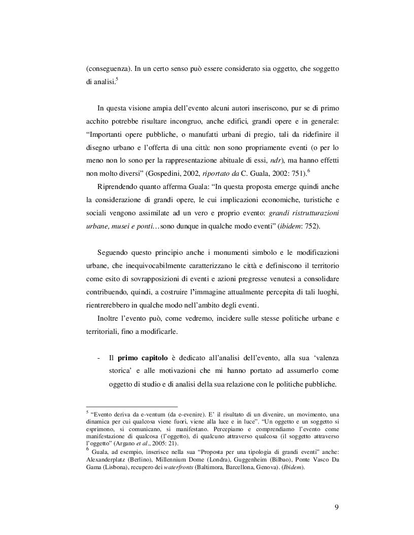 Anteprima della tesi: Event Studies: l'analisi dell'evento come risorsa strategica delle politiche urbane e territoriali, Pagina 8
