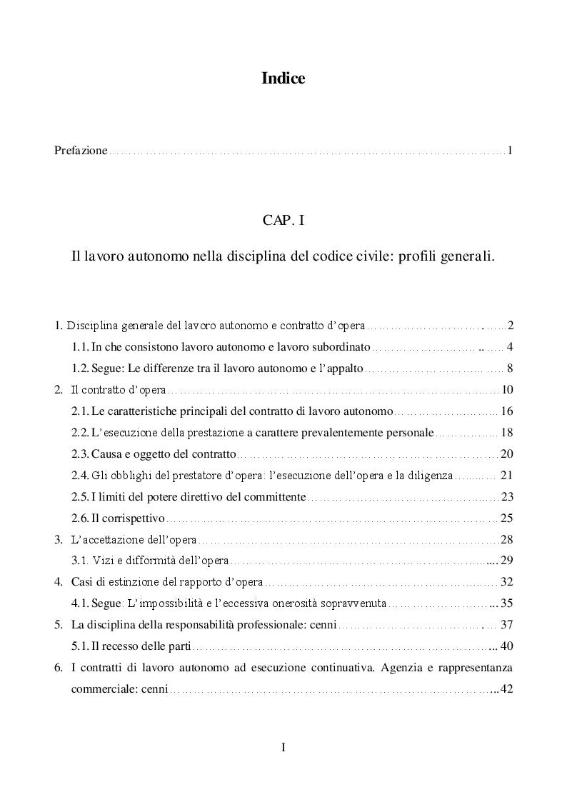 Indice della tesi: La disciplina del rapporto di lavoro c.d. ''a partita I.V.A.'' alla luce della legge n.92\2012, Pagina 1