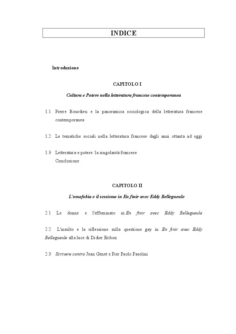 Indice della tesi: ''En finir avec Eddy Bellegueule'': il racconto di sé come contropotere., Pagina 1