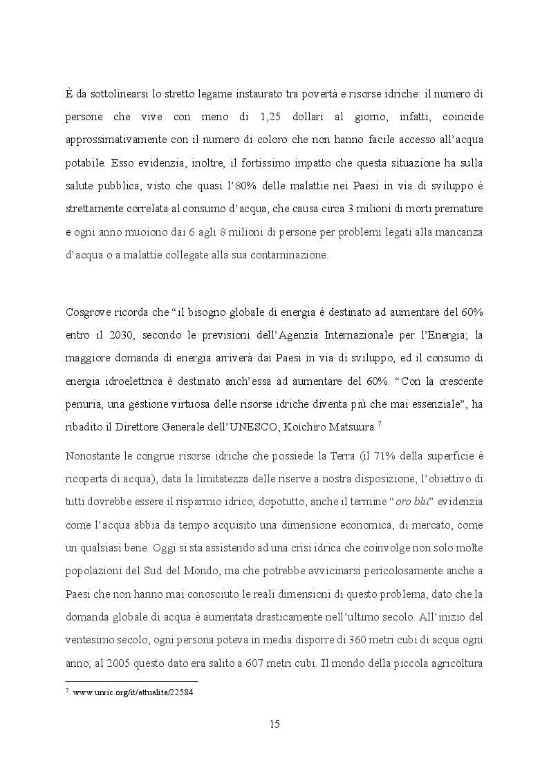Estratto dalla tesi: L'acqua: declinazioni del suo uso nei contesti italiano, europeo e statunitense