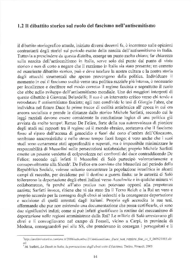 Estratto dalla tesi: La questione ebraica e le leggi razziali nel dibattito pubblico italiano degli ultimi trent'anni