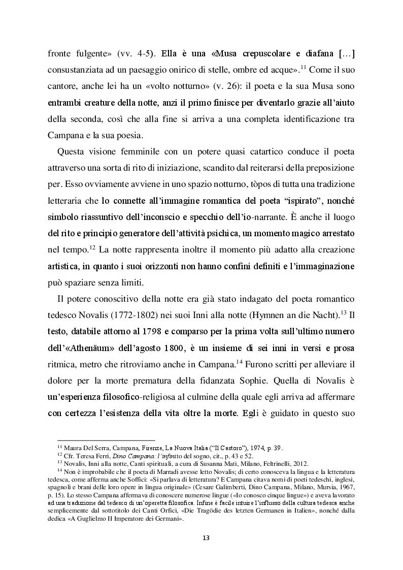 """Estratto dalla tesi: Dino Campana poeta """"notturno"""" nei Canti Orfici"""