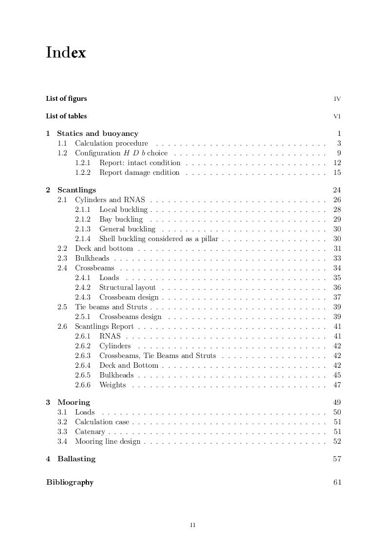 Indice della tesi: Preliminary design of FOWT, Pagina 1