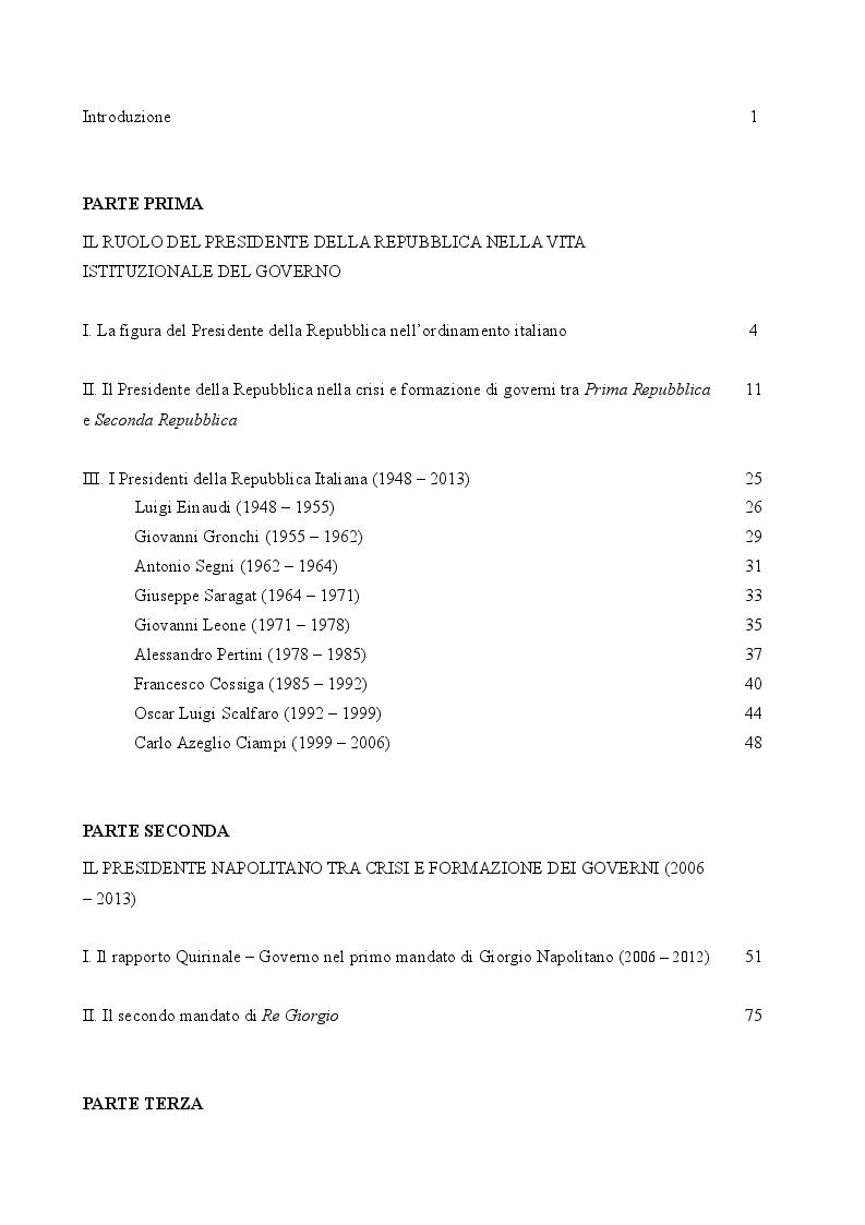 Indice della tesi: Il caso Napolitano: il ruolo del Capo dello Stato nel sistema di governo italiano (2006 - 2013), Pagina 1