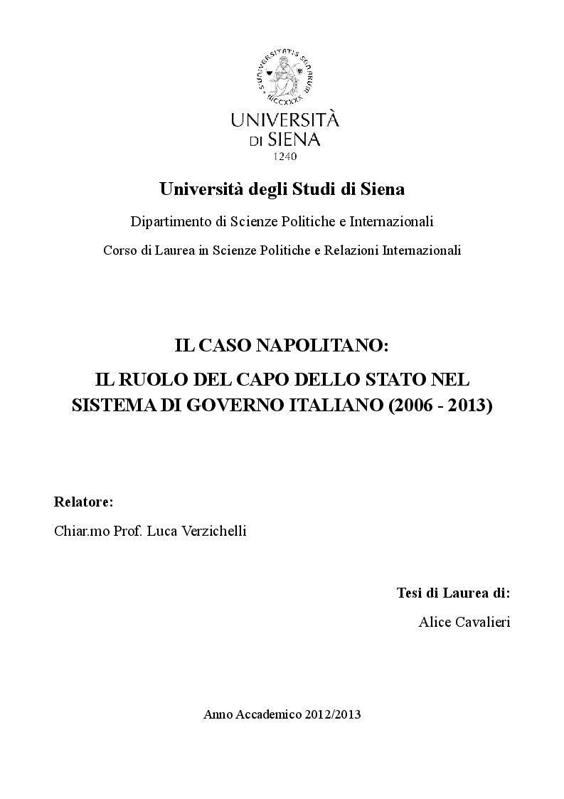 Anteprima della tesi: Il caso Napolitano: il ruolo del Capo dello Stato nel sistema di governo italiano (2006 - 2013), Pagina 1