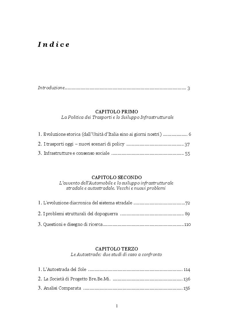 Indice della tesi: Le Autostrade nella politica dei Trasporti italiana: Due studi di caso a confronto, Pagina 1