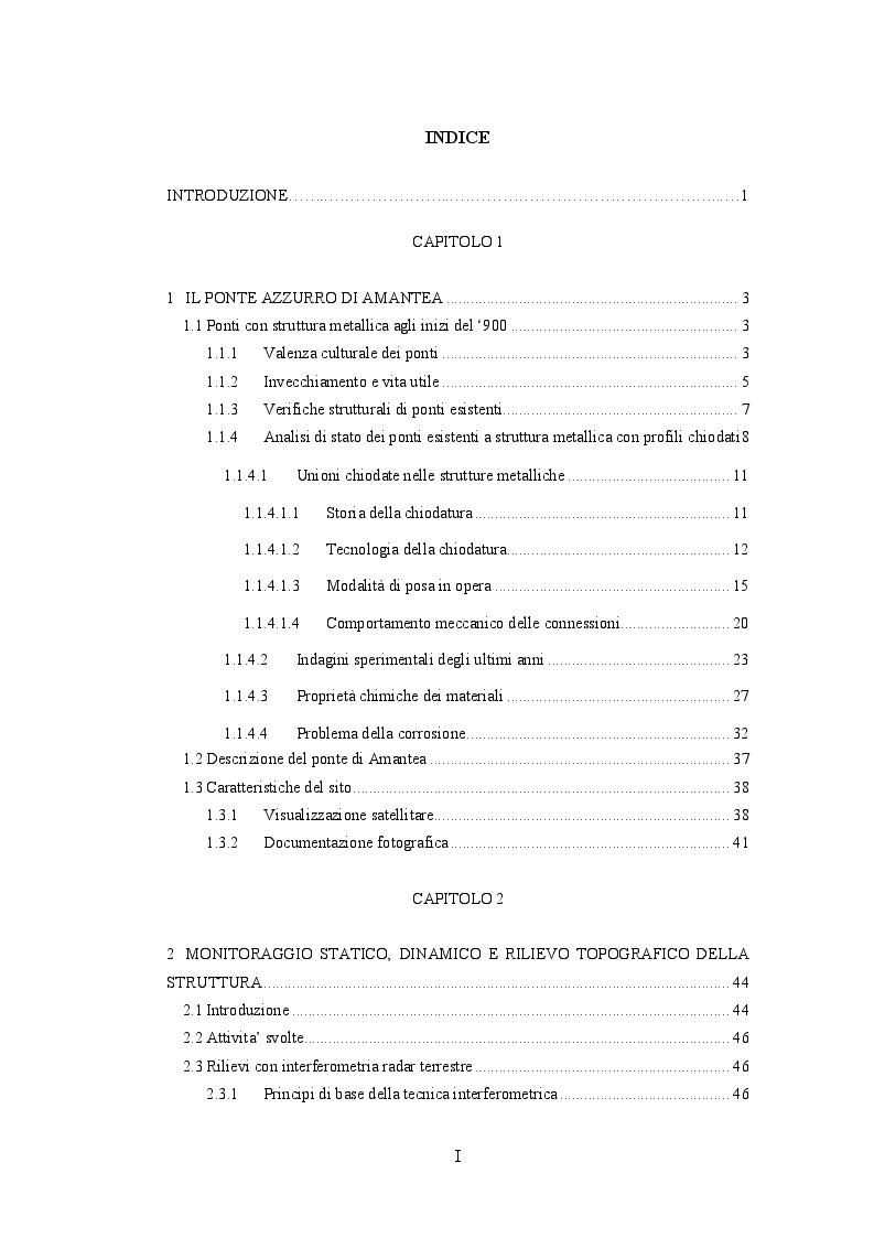 Indice della tesi: Analisi strutturale di un ponte in ferro esistente:  collaudo, modellazione BIM ed analisi agli elementi finiti, Pagina 1