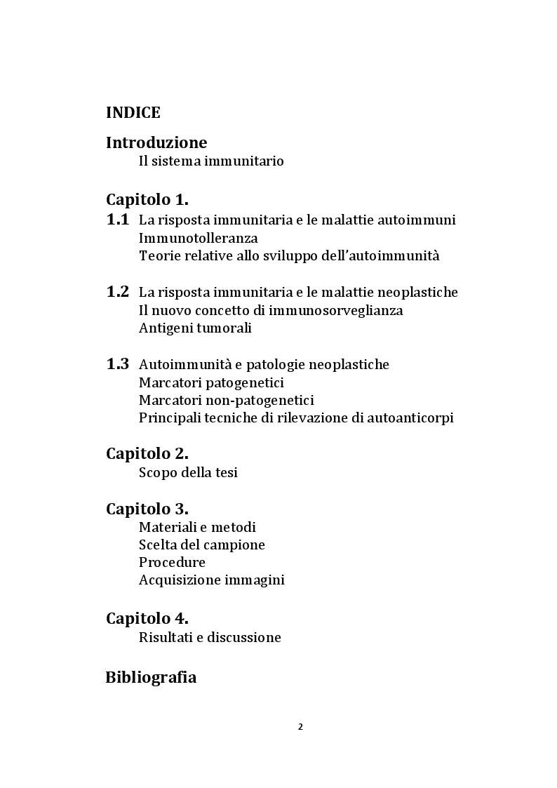 Indice della tesi: Valutazione dell'autoimmunità nelle patologie neoplastiche., Pagina 1