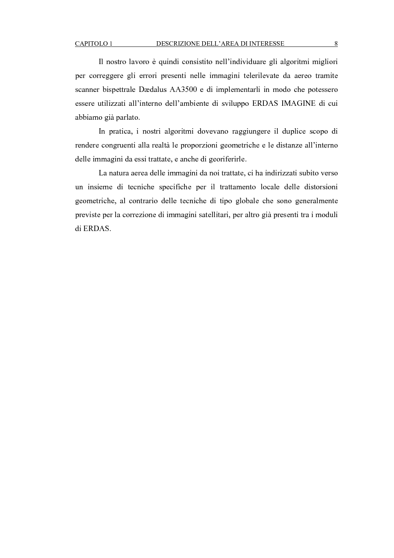 Anteprima della tesi: Correzione geometrica di immagini telerilevate da aereo, Pagina 12