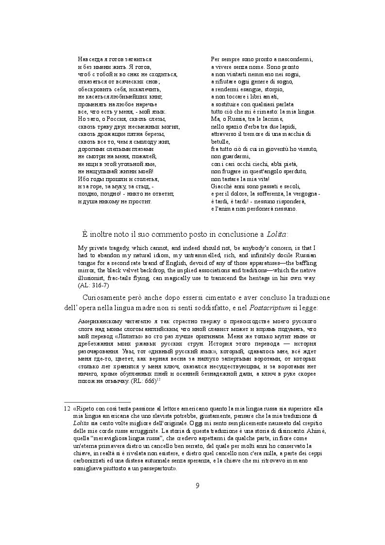 Estratto dalla tesi: Lolita vs. Лолита: Nabokov e l'autotraduzione