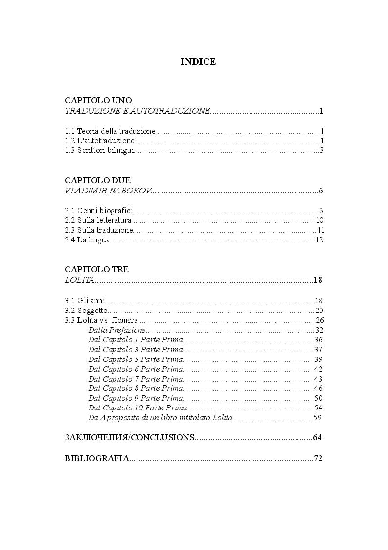 Indice della tesi: Lolita vs. Лолита: Nabokov e l'autotraduzione, Pagina 1