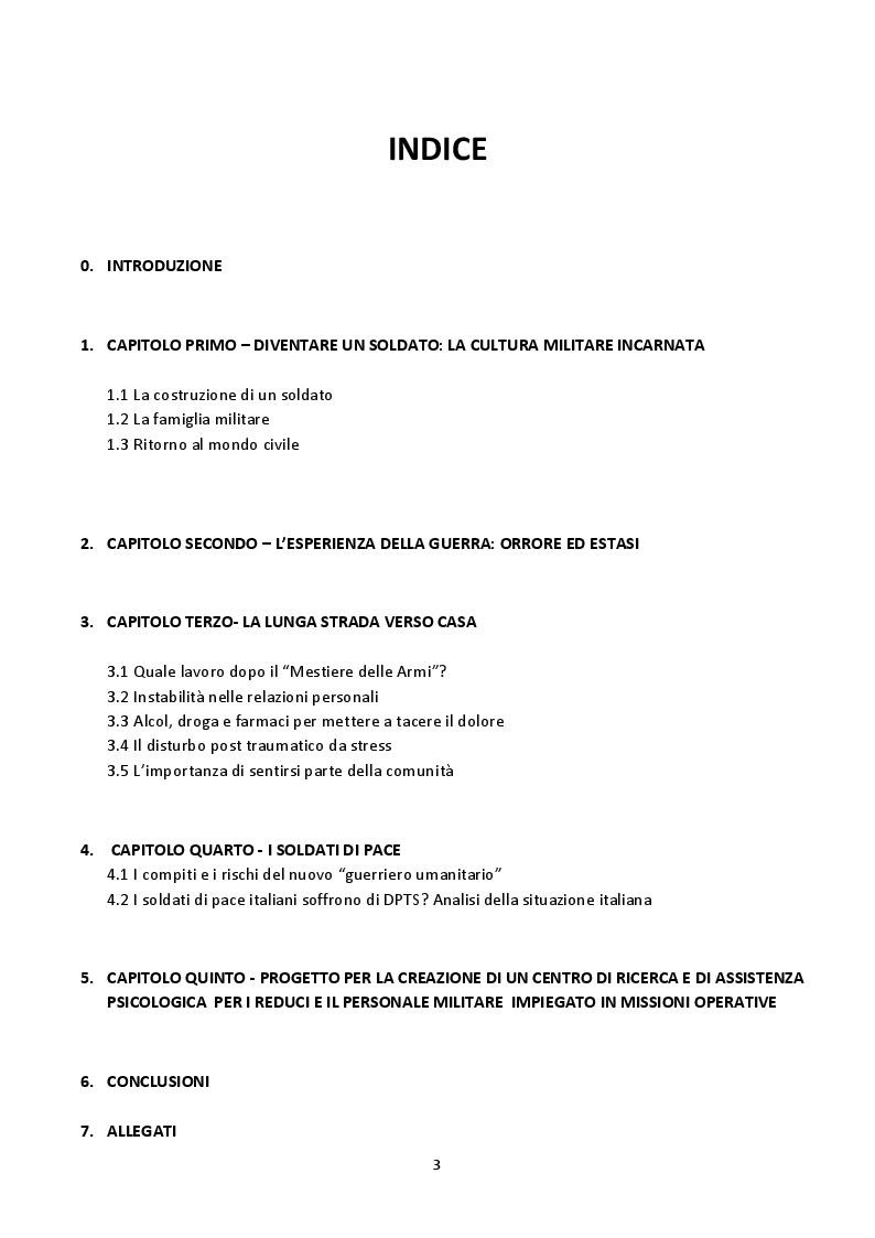 Indice della tesi: Il trauma psicologico della guerra. Progetto per la creazione di un centro di ricerca e di assistenza psicologica per il personale militare impiegato in missioni operative., Pagina 1
