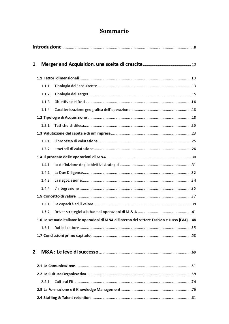 Indice della tesi: La performance organizzativa post-M&A nel settore Fashion & Luxury: il ruolo della funzione HR - il caso OTB -, Pagina 1