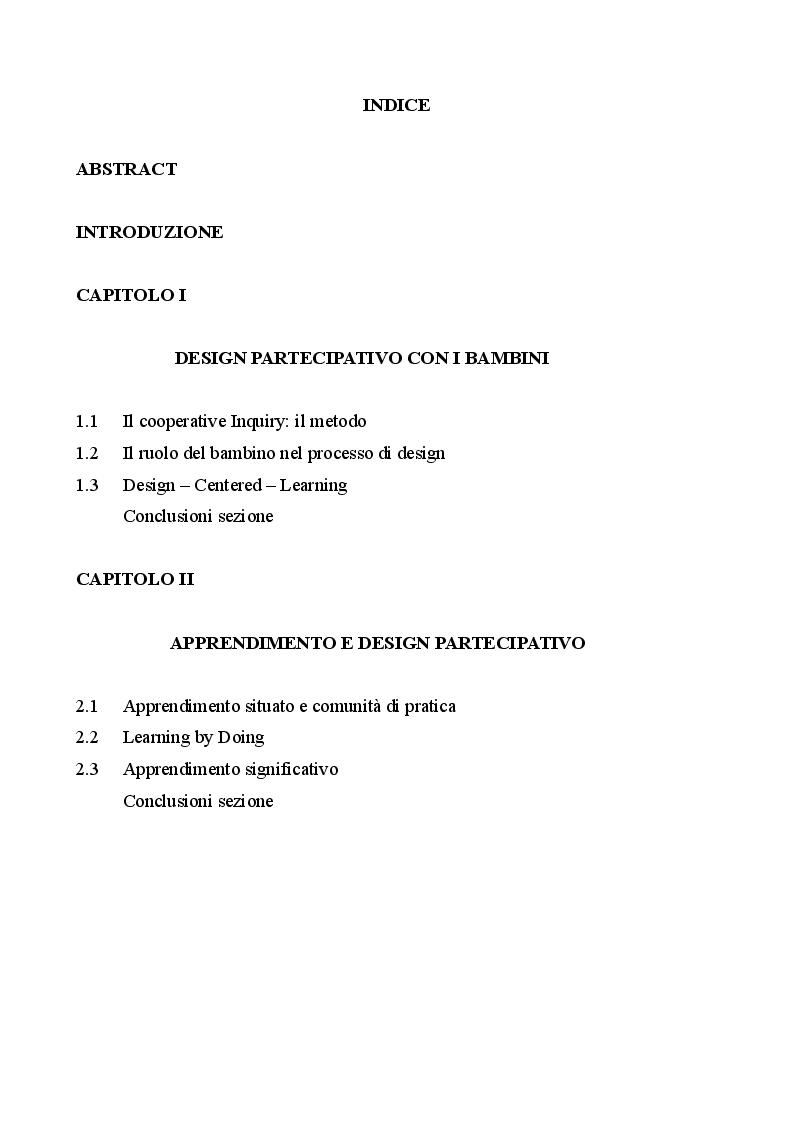 Indice della tesi: Contrada è…Palio è…: un sistema multimediale progettato con e per i bambini, Pagina 1