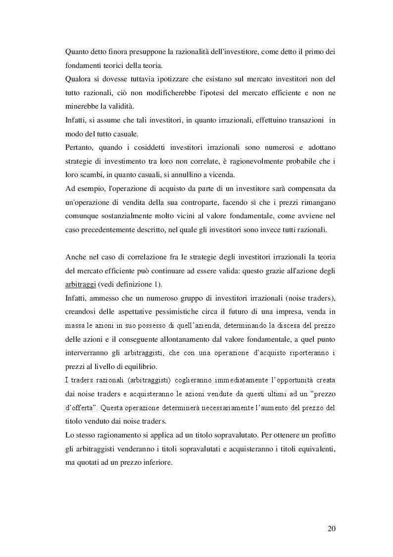 Estratto dalla tesi: Le anomalie di calendario nel mercato azionario italiano