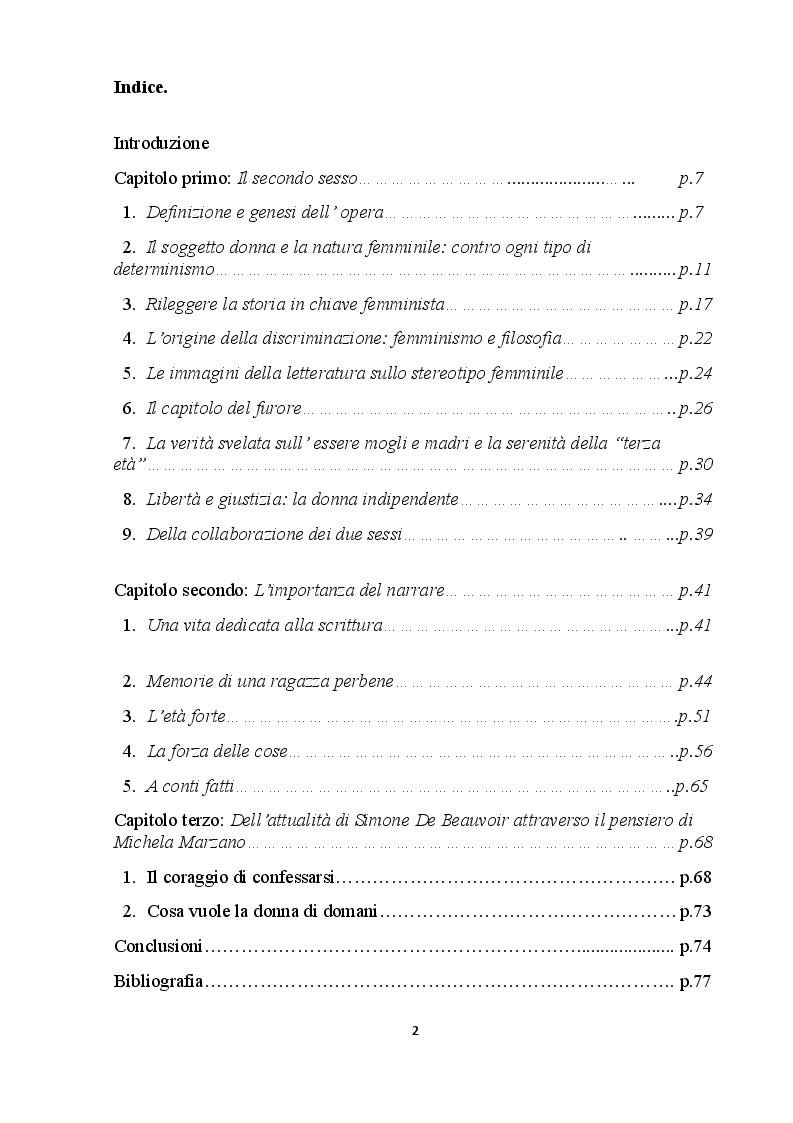 Indice della tesi: Simone De Beauvoir: l'impatto rivoluzionario di un pensiero che costruisce il futuro, Pagina 1