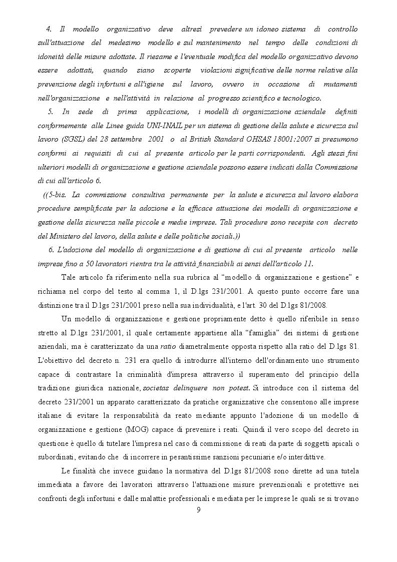 Estratto dalla tesi: L'asseverazione di un SGSL nelle pmi tra semplificazione e risparmio