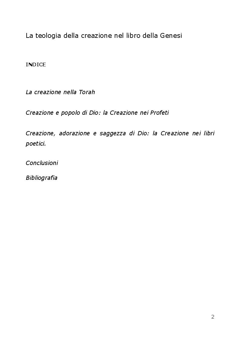 Indice della tesi: La teologia della creazione nel libro della Genesi, Pagina 1