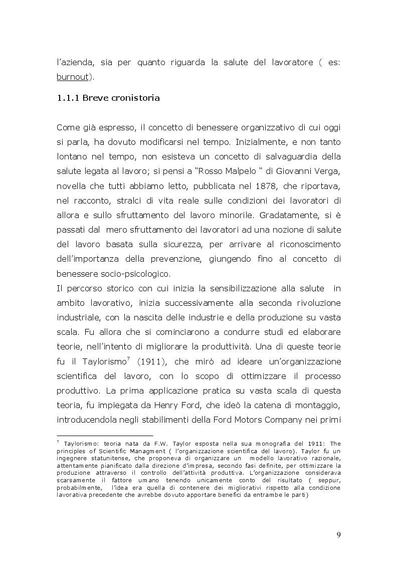 Estratto dalla tesi: Studio evolutivo della storia del gruppo infermieristico di un ambulatorio (ATR) in base al benessere dell'organizzazione e delle cure al paziente
